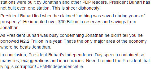 "Reno Omokri rips into President Buhari for ""series of lies"" on Independence Day"