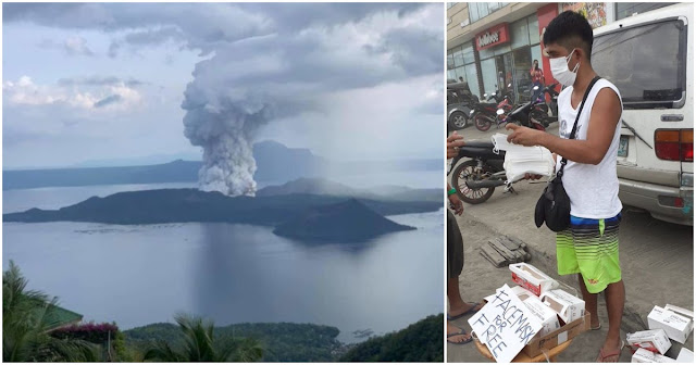 Guy Goes Viral for Giving Free Masks to Those Affected by Taal Eruption