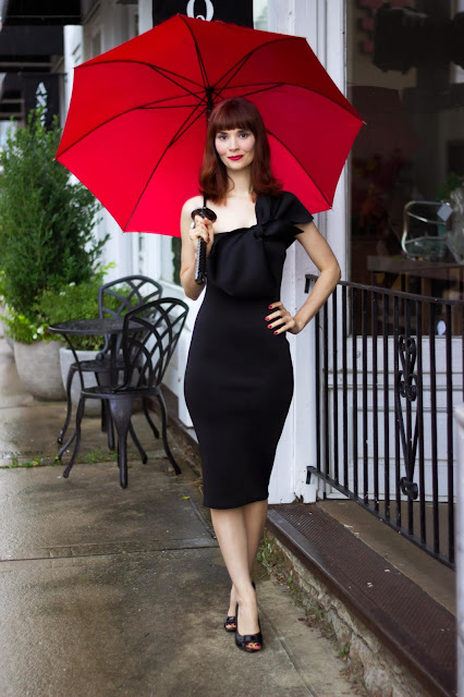Black Bow One Shoulder Midi Dress - Stacey from FemmeLuxeFinery.co.uk holday dresses LBD little black dress