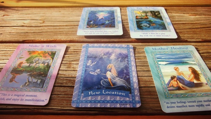 Mermaid Oracle Card Deck + Tarot Reading in Backyard Summer Picnic in Florida in a Tiny, Seaside Fishing Village