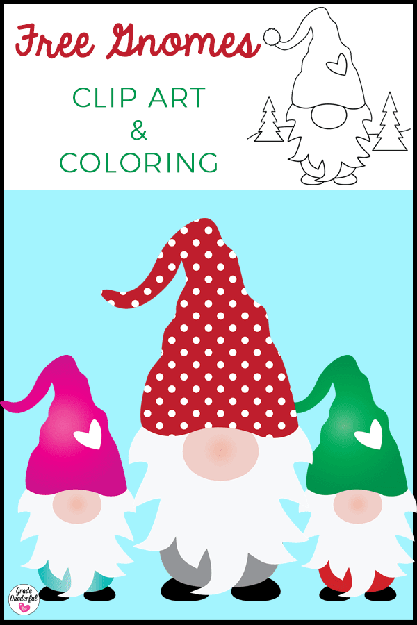 Gnome clip art and coloring page. All free and fabulous!