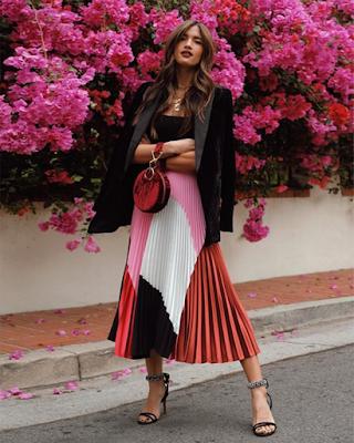 Falda plisada de colores casual