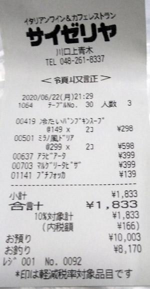 サイゼリヤ 川口上青木店 2020/6/22 飲食のレシート