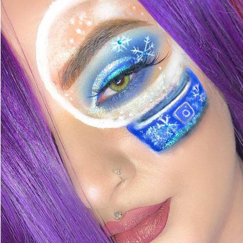 Maquillaje profesional bola de nieve en el ojo y labios rosas