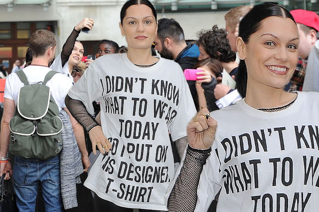 """I didn't know what to wear today so I put on this designer t-shirt"" as worn by Jessie J."