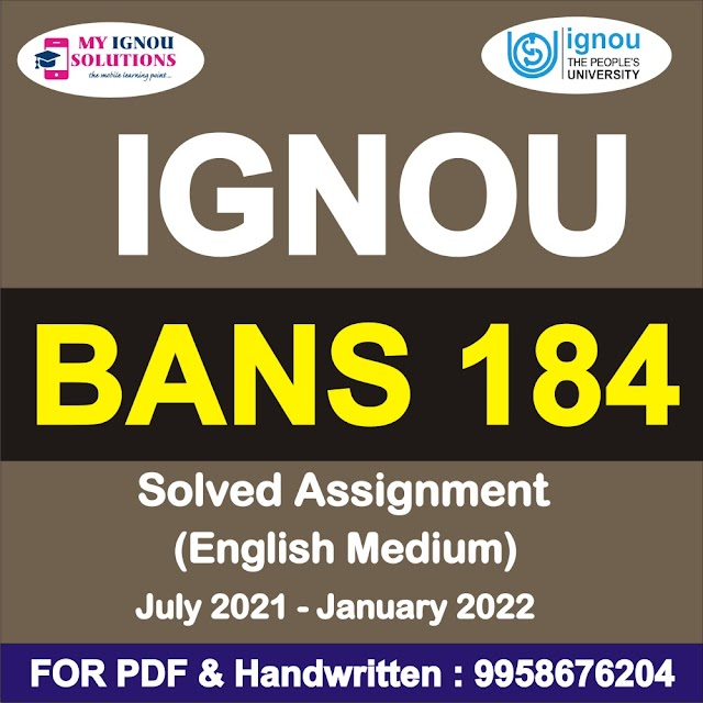BANS 184 Solved Assignment 2021-22