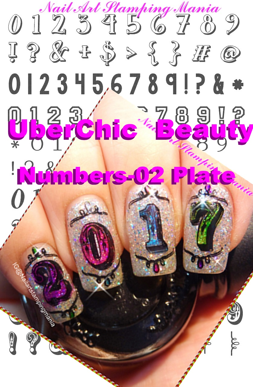 Nail Art Stamping Mania Uberchic Beauty Numbers 01 Plate And New