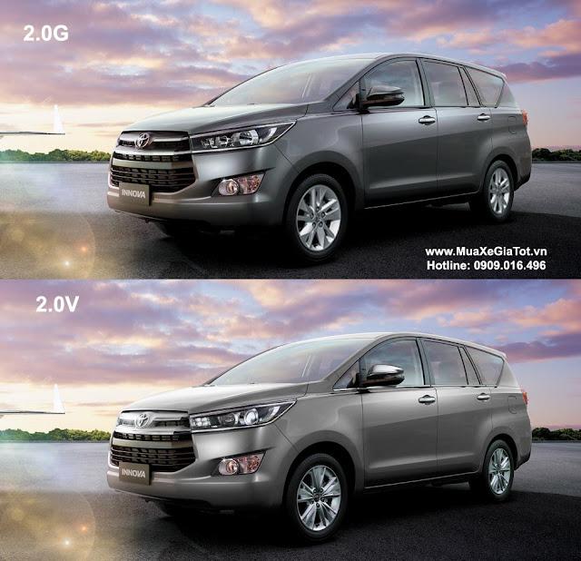 So sánh Toyota Innova 2.0G và 2.0V 2016 phiên bản số tự động