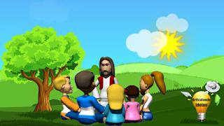 Jesus sentado com algumas crianças