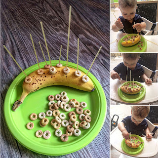 banana with cheerios threaded on spaghetti fine motor activity