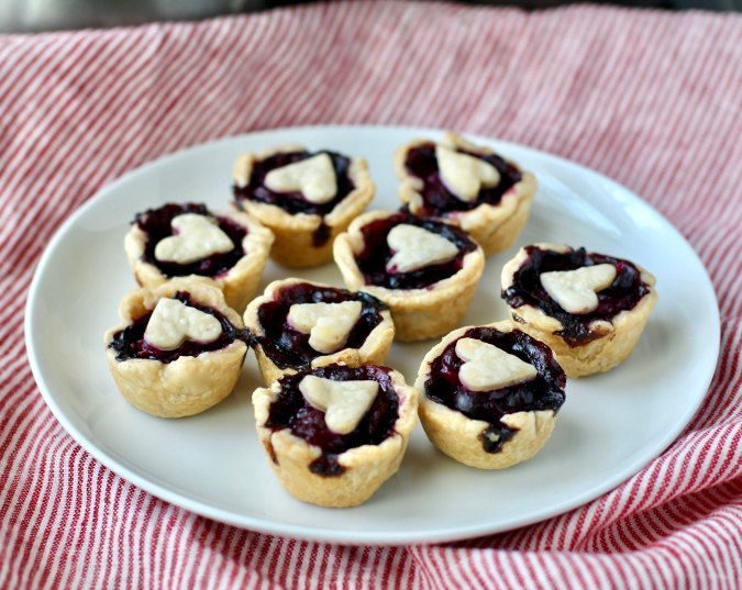 Blueberry Mini Pies with heart cut outs
