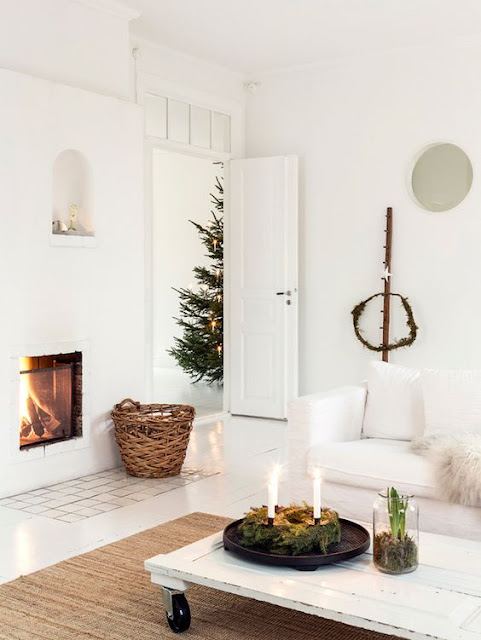 Swedish Farmhouse Christmas Decorating Interior Design white fireplace