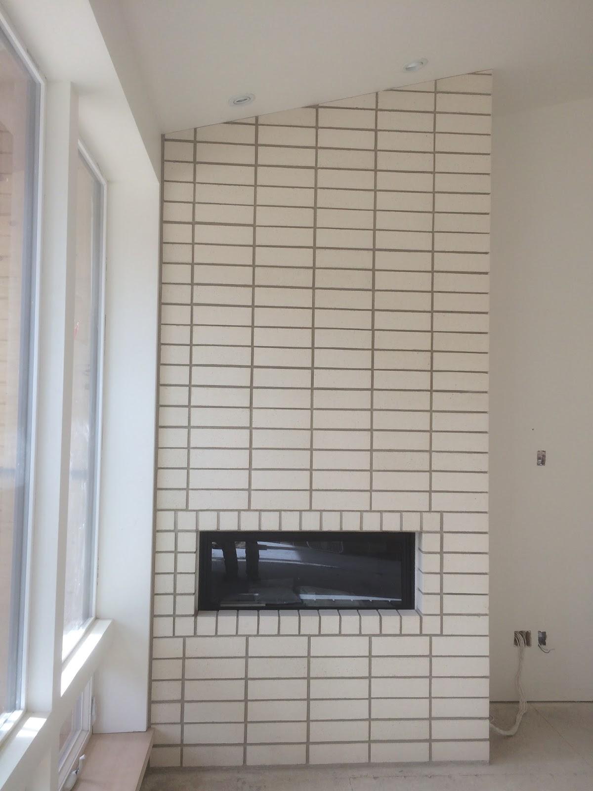 Boisineau Masonry Stacked Bond Brick Fireplace In