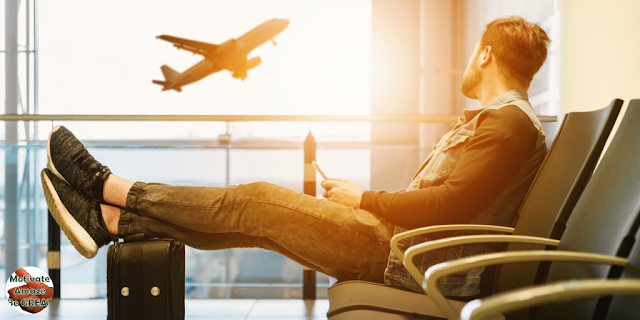 "Featured in the article: ""6 Tips To Get Over Flight Anxiety And Relax On A Plane"". Get to know your phobia, airplane passenger reflecting on his phobia prior to flying. Airport, relax."