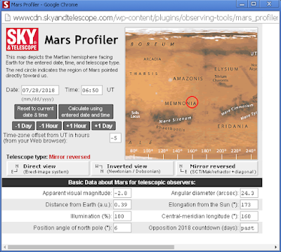 the Sky and Tel Mars calculator