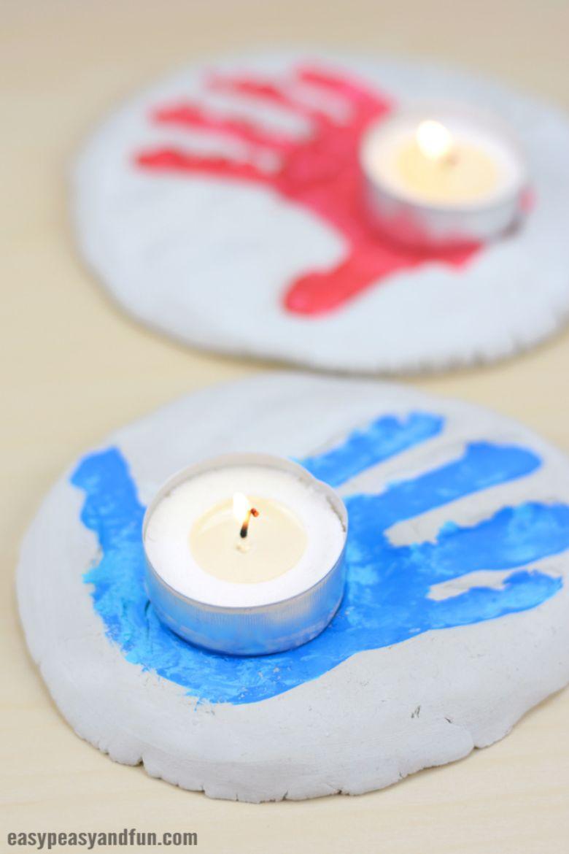 Salt dough handprint candle holder