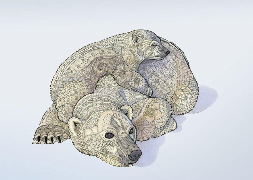 07-Polar-Bears-Z-H-Field-Distinctive-Animal-Drawings-and-Paintings-www-designstack-co