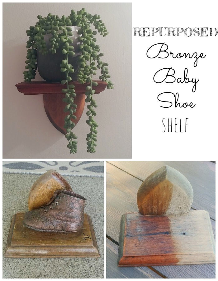 Repurposed Bronze Baby Shoe Shelf