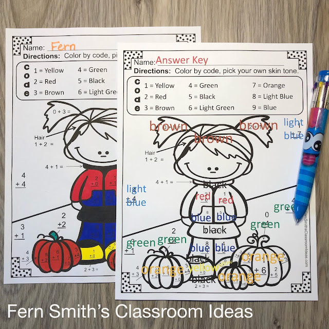 Click Here to Download this Fall Color By Number Addition Worksheet Freebie Resource Today for Your Class!