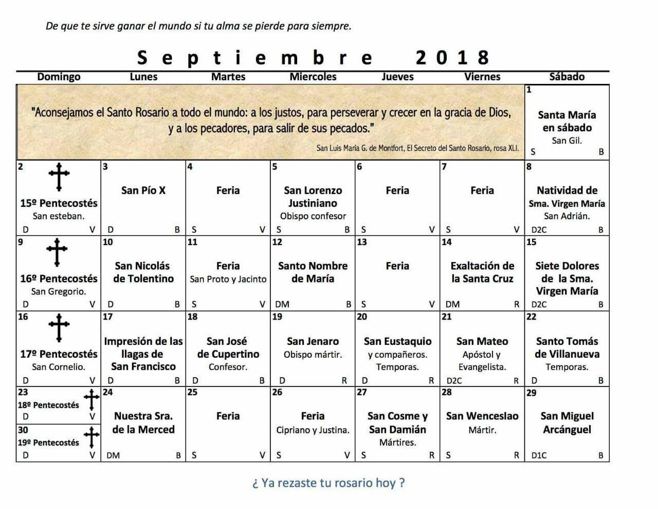 calendario mes de septiembre 2018
