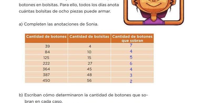 Los botones -Desafío 40- Desafíos Matemáticos Quinto grado