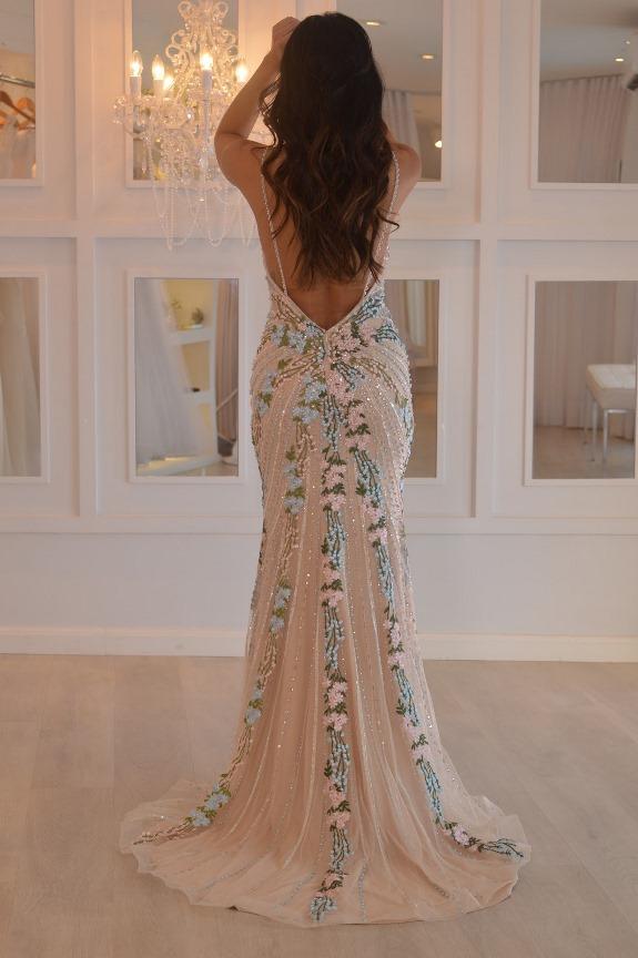 vestido de festa floral alcinha