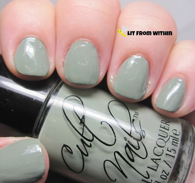 Cult Nails Grunge, a dusty pale Army green creme