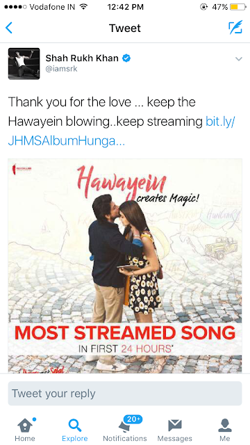 Jab Harry Met Sejal's Hawayein creates a record on Hungama Music Crosses 1mn streams in 24 hrs; inches closer to 3 million streams!