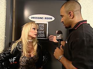 WWE / WWF No Mercy 2001 - Debra stops Coach interviewing Steve Austin