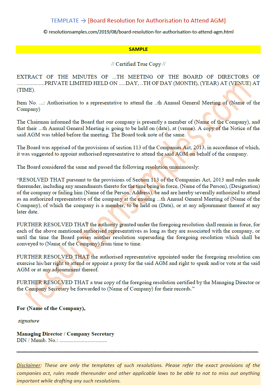 board resolution for appointment of joint managing director