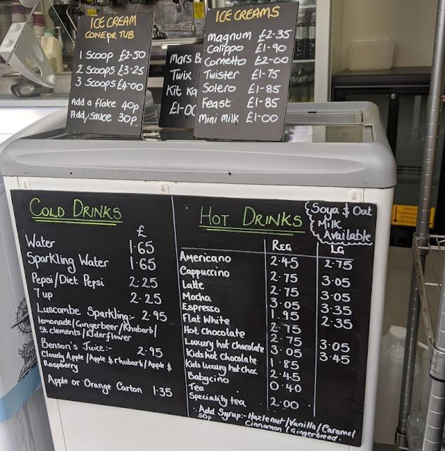 Menu for the coffee kiosk at crozier car park cragside