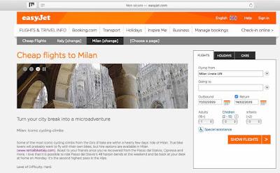 easyjet adventure activities suggestions in Milan Italy