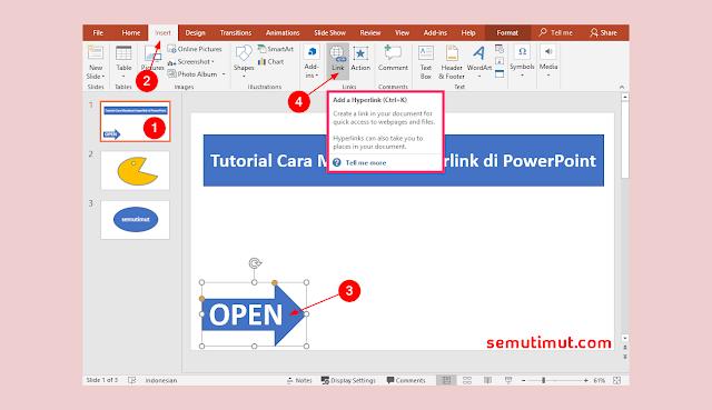 cara membuat hyperlink di powerpoint ke word