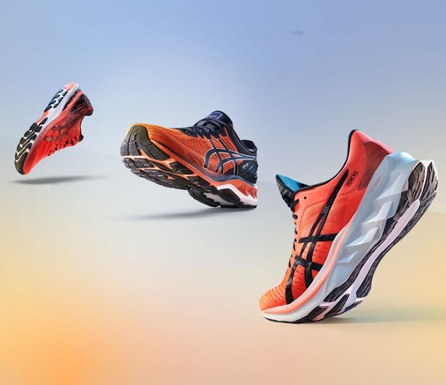 ASICS Sunrise Red Collection, ASICS Running, Gel-Kayano,   Roadblast, Novablast, Gel-Cumulus, Gel-Nimbus, Fitness