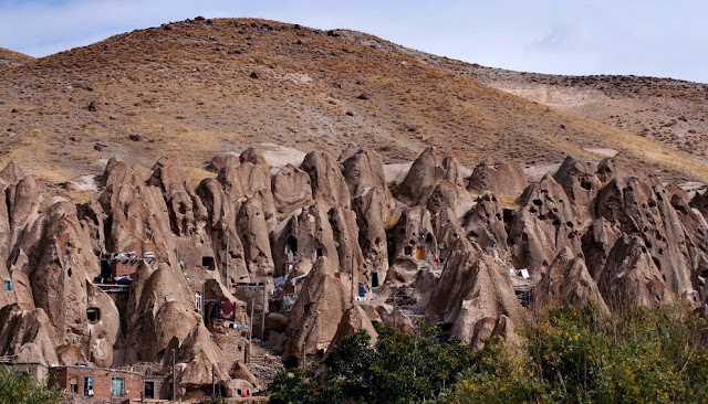 the conic caves of Kandovan village. Tabriz-Iran
