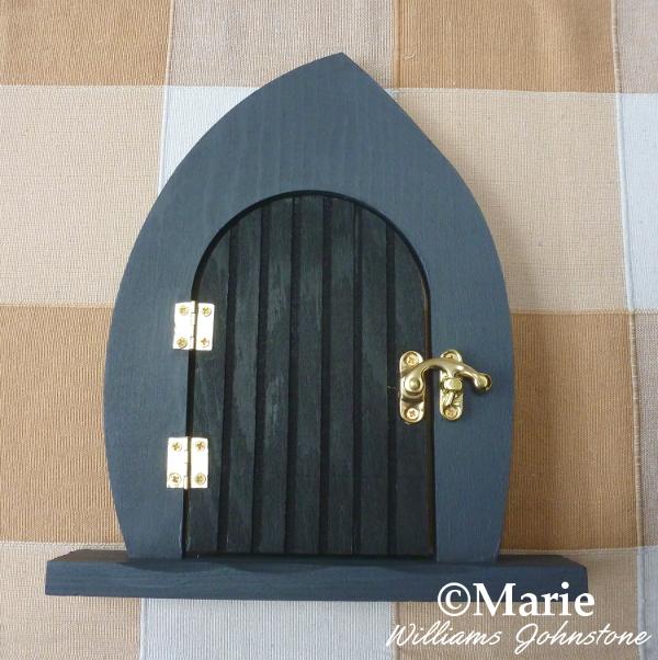 Painted wooden Halloween fairy door altered art gray black