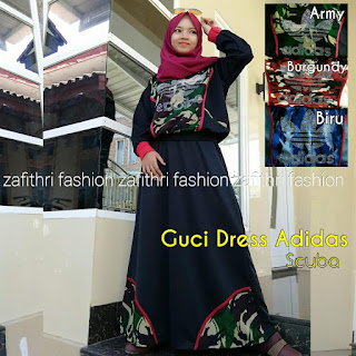 dress set motif guci bahan scuba