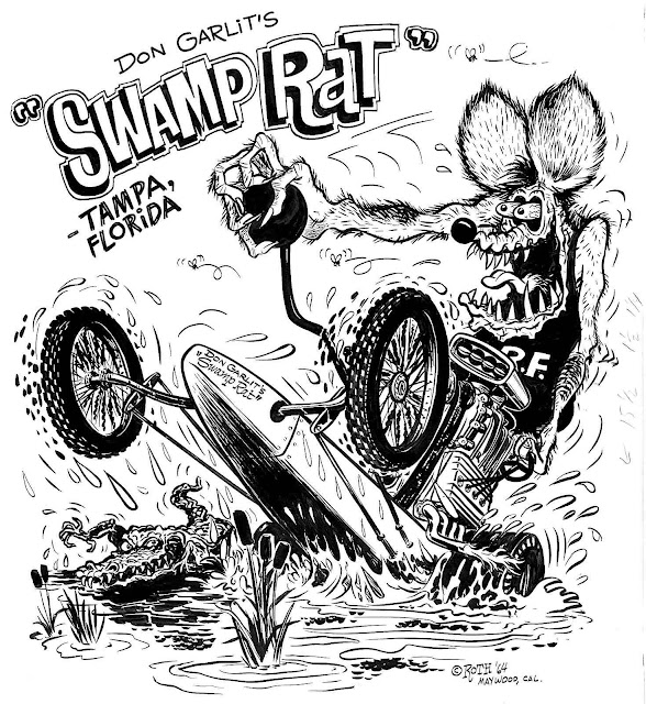 an Ed Roth drawing of Rat Fink driving Don Garlit's dragster named Swamp Rat in Tampa Florida