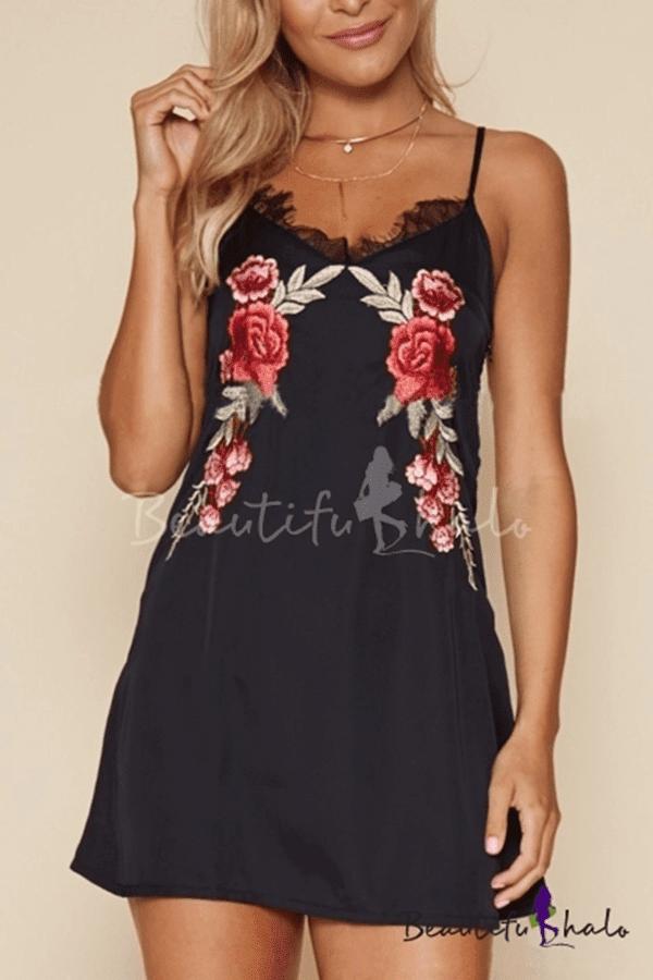 Summer's Lace Trim Floral Print Sexy Mini Slip Dress