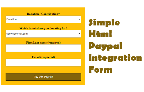 Simple Html Paypal Integration Form