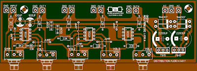 Layout PCB Audio Distributor 4 Way Komplit