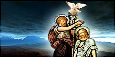 imagem de João Batista batizando Jesus