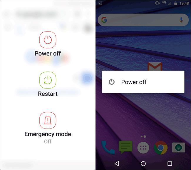 قائمة الطاقة على هاتف Samsung Motorola Android.
