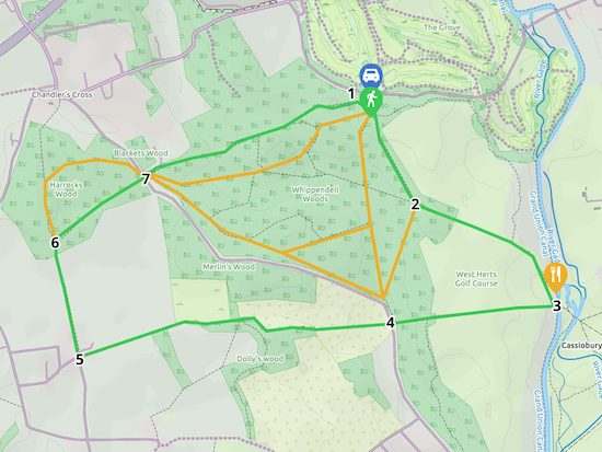 Map for Walk 126: Whippendell Woods Loop Created on Map Hub by Hertfordshire Walker Elements © Thunderforest © OpenStreetMap contributors There is an interactive map below these directions