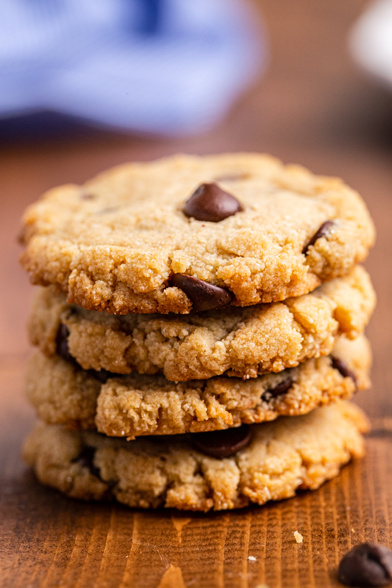 Close up photo of a stack of Low Carb Keto Chocolate Chip Cookies.