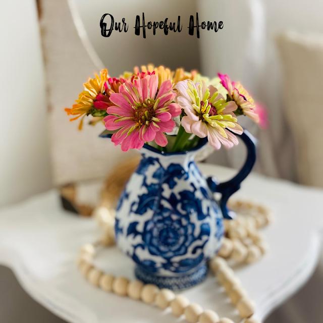 summer zinnias blue and white creamer wooden farmhouse bead garland
