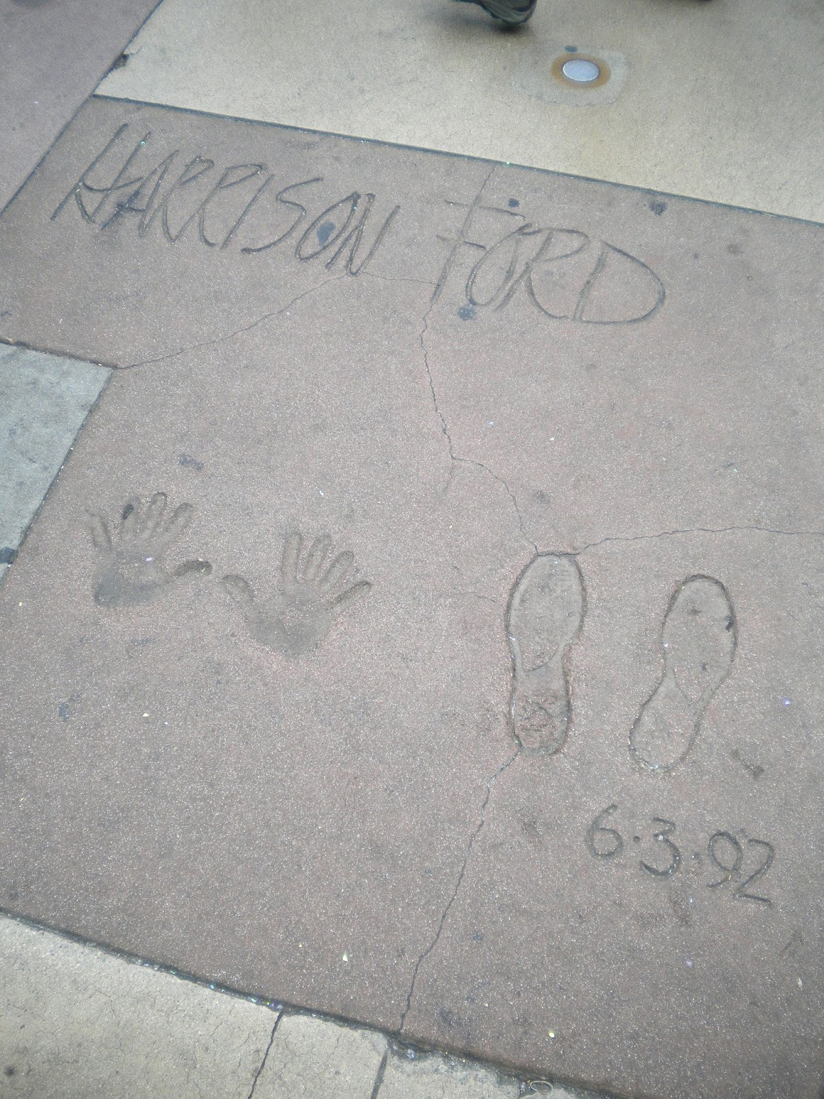 Harrison Ford jalanjäljet Walk of Fame Hollywood Los Angeles Mallaspulla matkakertomus