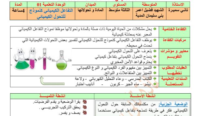 تحضير درس التفاعل الكيميائي كنموذج للتحول الكيميائي 3 متوسط الجيل الثاني