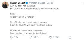 Opinion on NRC and CAA By Chetan Bhagat