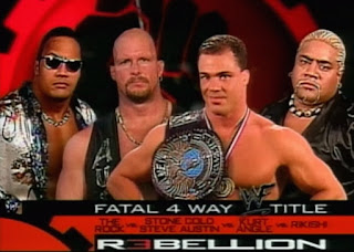 WWE / WWF Rebellion 2000 - Kurt Angle defended the WWF title against Steve Austin, The Rock, and Rikishi in a fatal fourway